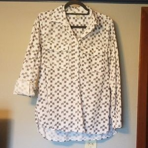 Madewell gray and white popover oxford